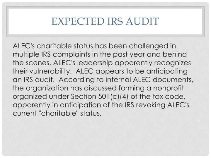 Expected IRS Audit