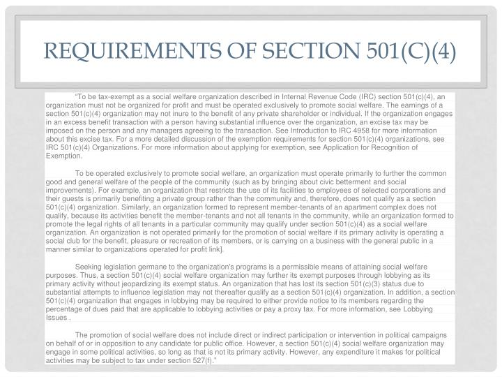 Requirements of Section 501(c)(4)