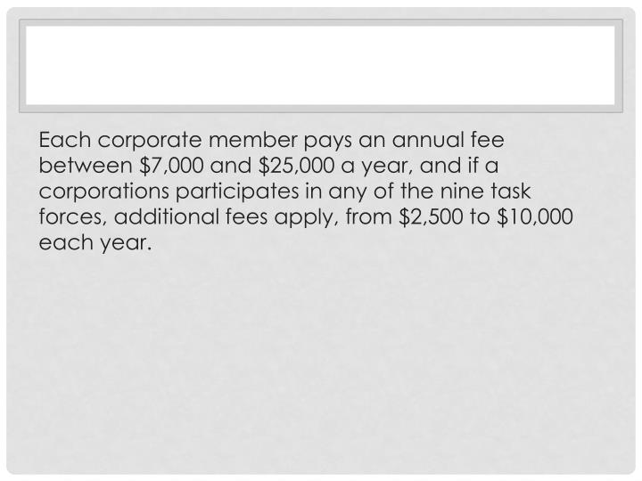 Each corporate member pays an annual fee between $7,000 and $25,000 a year, and if a corporations pa...