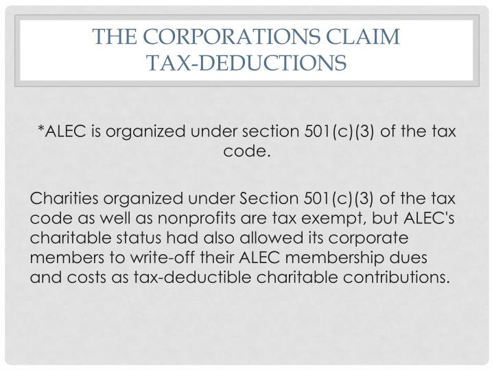 The Corporations Claim