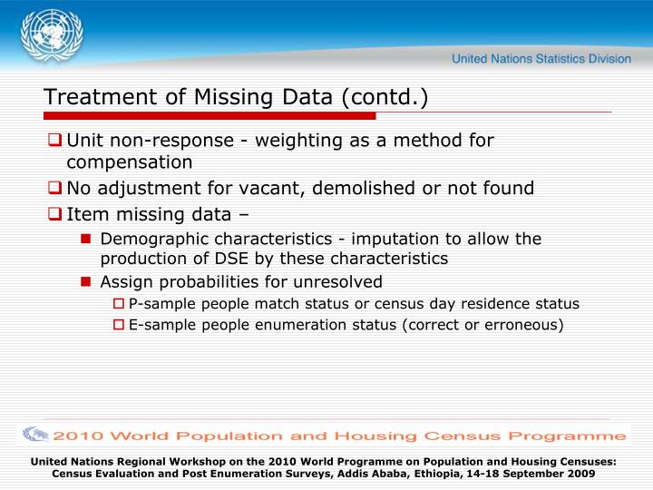 Treatment of Missing Data (contd.)