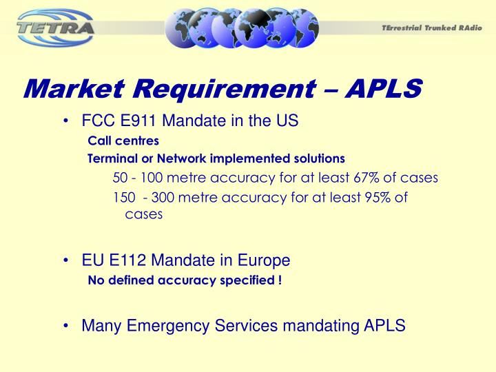 Market requirement apls