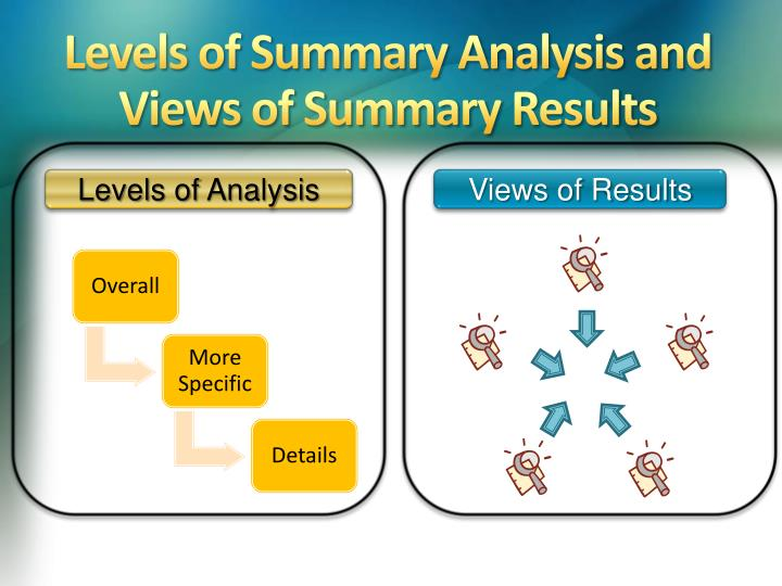 Levels of Summary Analysis and