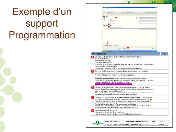 Exemple d'un support Programmation