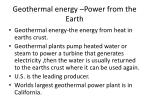 geothermal energy power from the earth