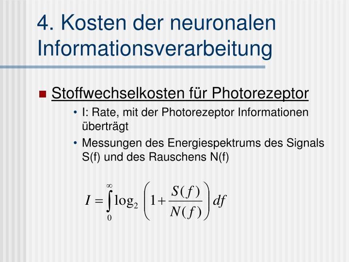 4. Kosten der neuronalen Informationsverarbeitung