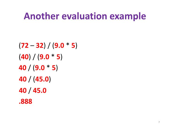 Another evaluation example