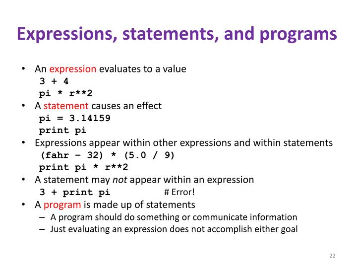 Expressions, statements, and programs
