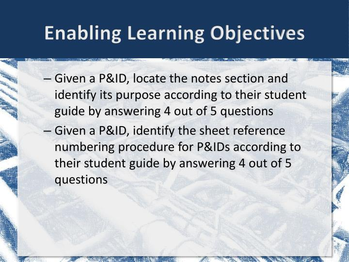 Enabling learning objectives1