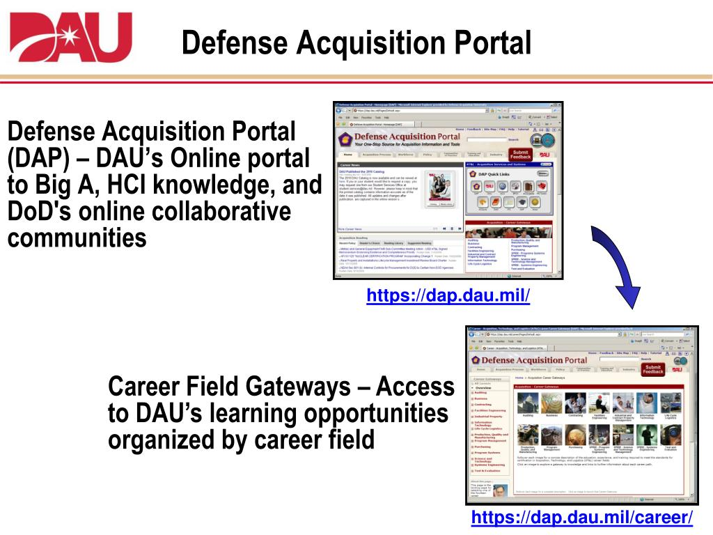 dau acquisition portal defense briefing students ppt powerpoint presentation