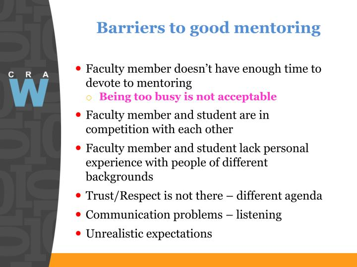 Barriers to good mentoring