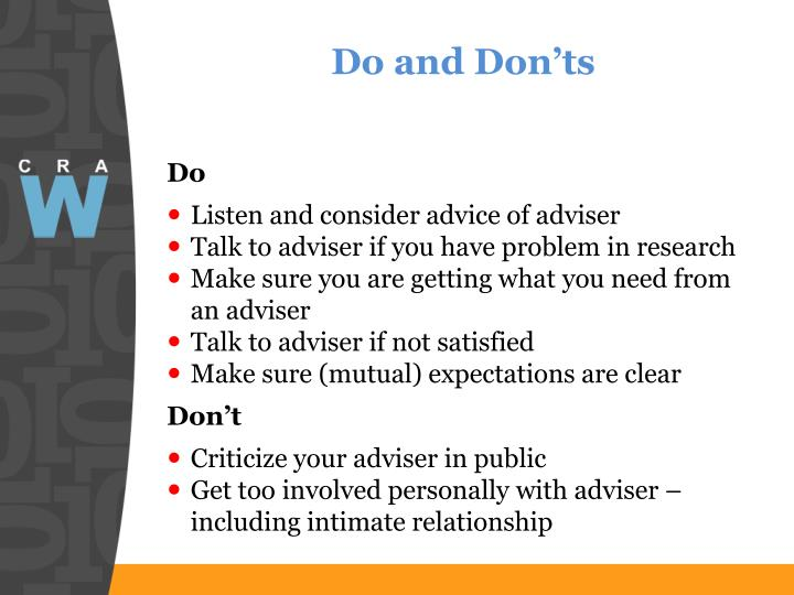 Do and Don'ts