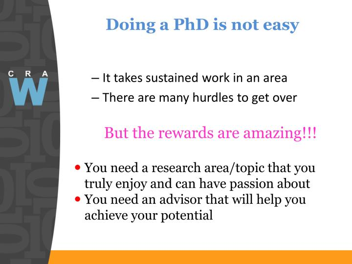 Doing a PhD is not easy
