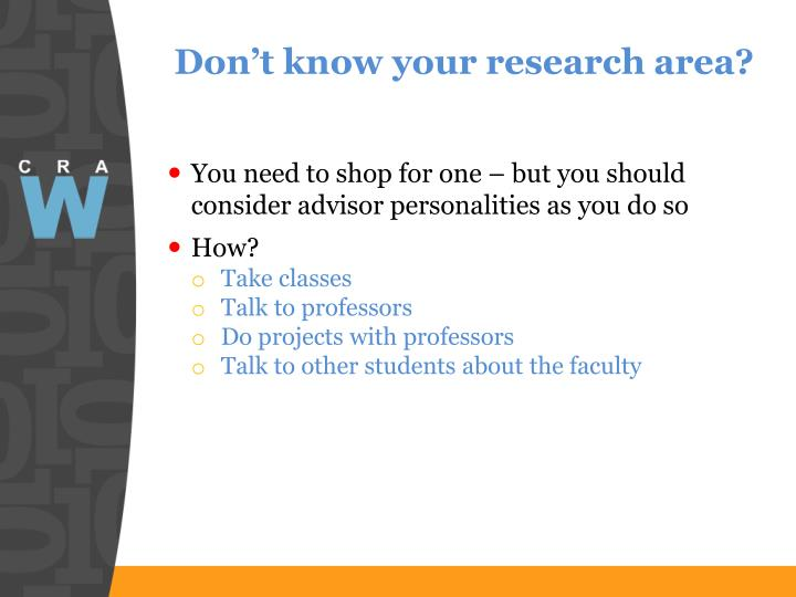 Don't know your research area?