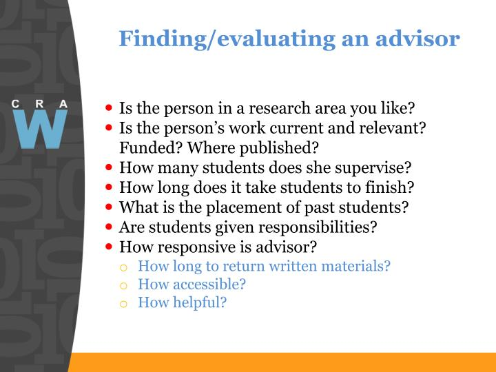 Finding/evaluating an advisor