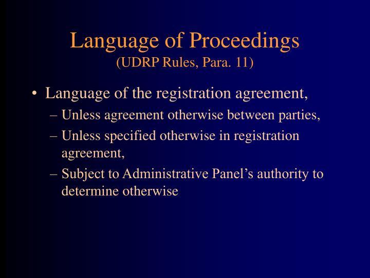Language of Proceedings