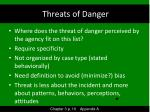 threats of danger