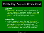 vocabulary safe and unsafe child