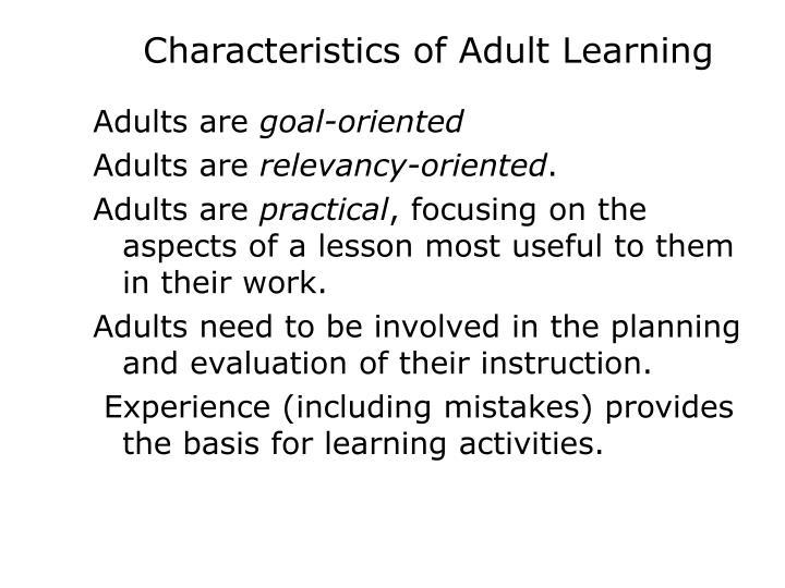 Characteristics of Adult Learning