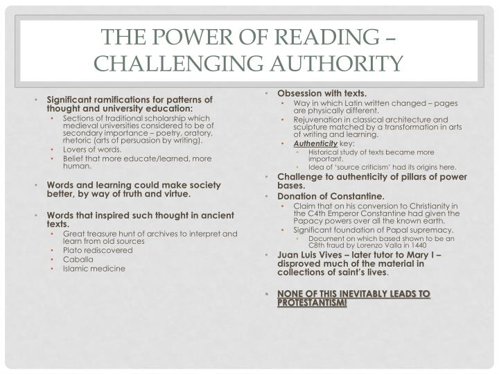 The Power of Reading – Challenging Authority