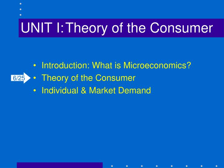 unit i theory of the consumer n.