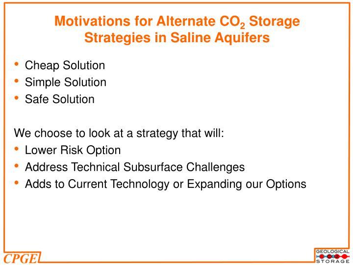 Motivations for Alternate CO