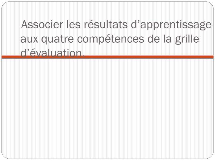 Associer les résultats d'apprentissage aux quatre compétences de la grille d'évaluation.