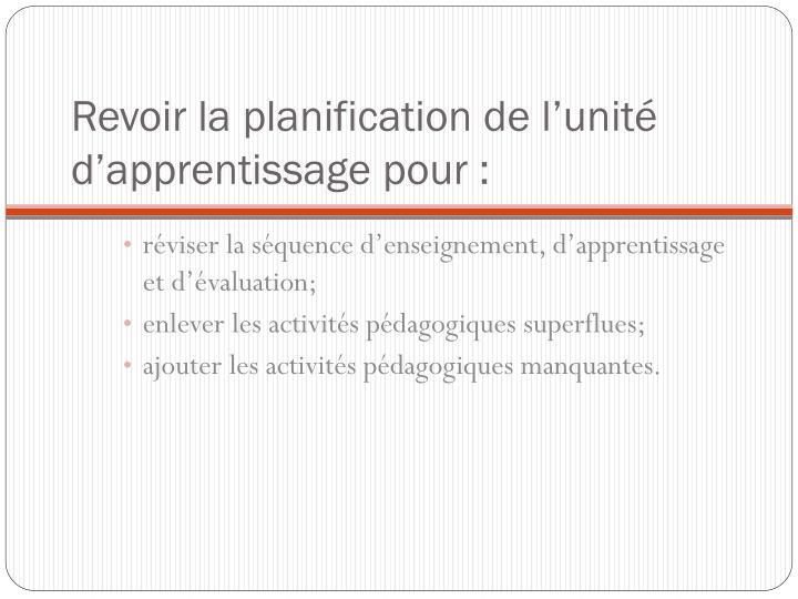 Revoir la planification de l'unité d'apprentissage pour: