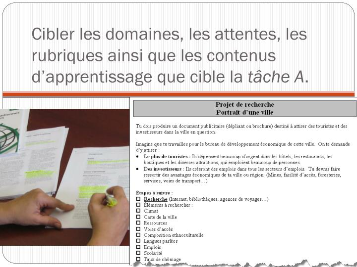 Cibler les domaines, les attentes, les rubriques ainsi que les contenus d'apprentissage que cible la