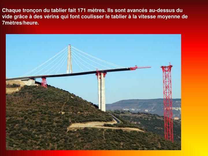 Chaque tronçon du tablier fait 171 mètres. Ils sont avancés au-dessus du vide grâce à des vérins qui font coulisser le tablier à la vitesse moyenne de 7mètres/heure.