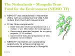 the netherlands mongolia trust fund for the environment nemo tf