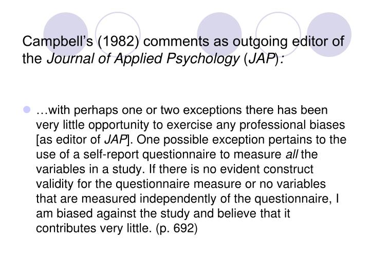Campbell s 1982 comments as outgoing editor of the journal of applied psychology jap