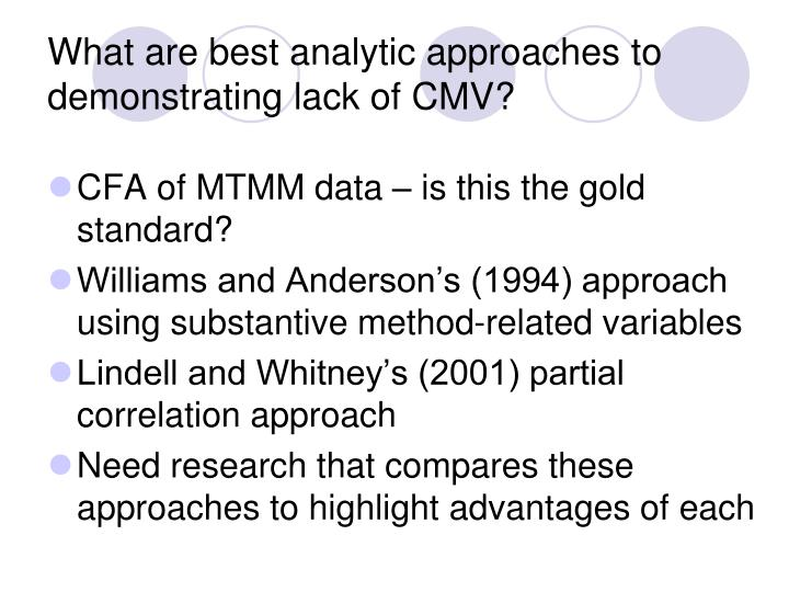 What are best analytic approaches to demonstrating lack of CMV?