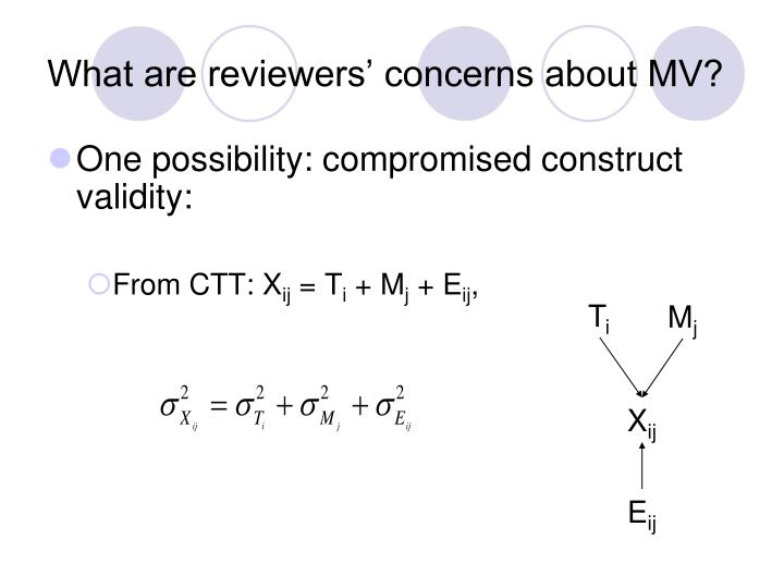 What are reviewers concerns about mv