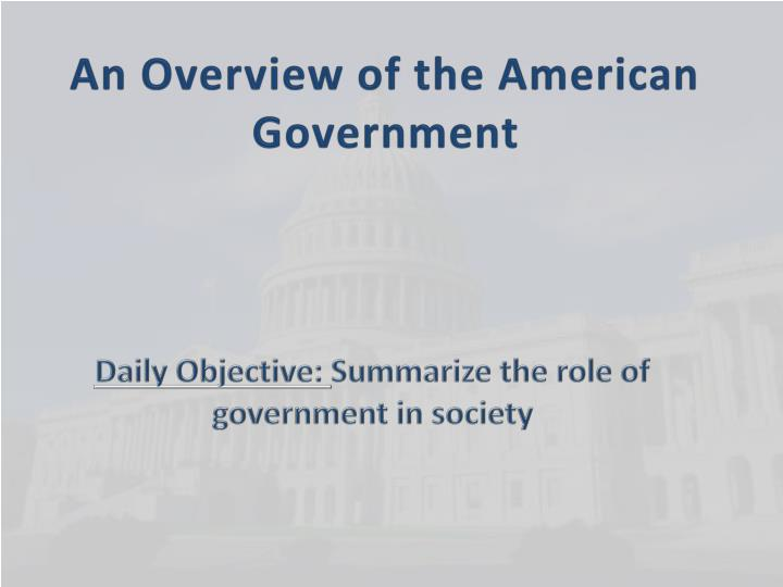 an overview of the american government n.