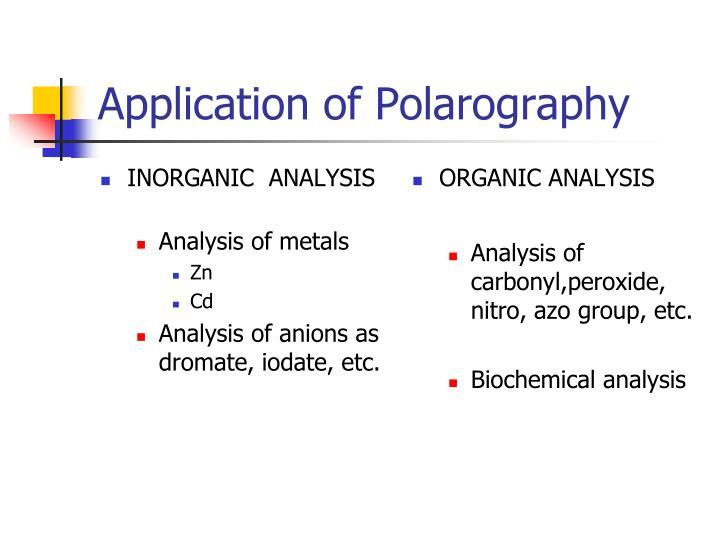 Application of Polarography