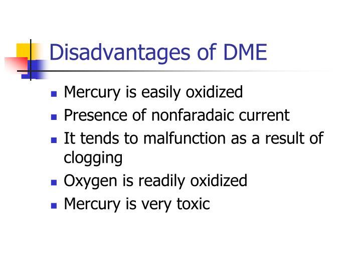 Disadvantages of DME
