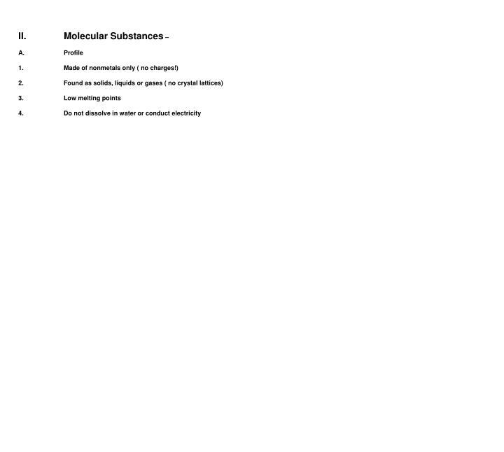 II.Molecular Substances