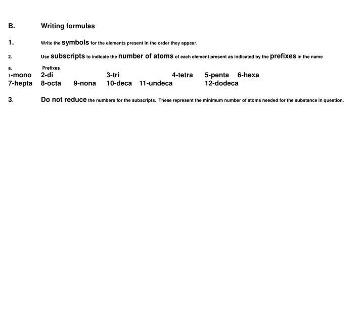 B.Writing formulas