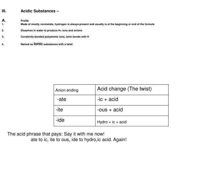 III.Acidic Substances –
