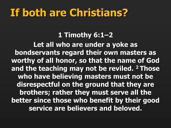 If both are Christians?