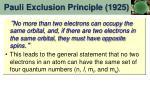 pauli exclusion principle 1925
