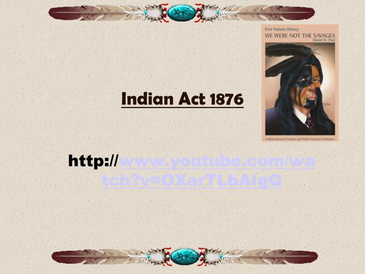 indian act 1876 n.