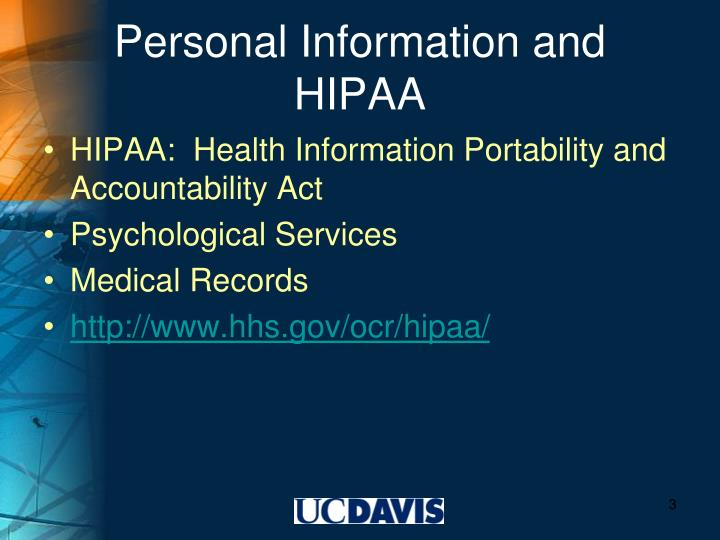Personal information and hipaa