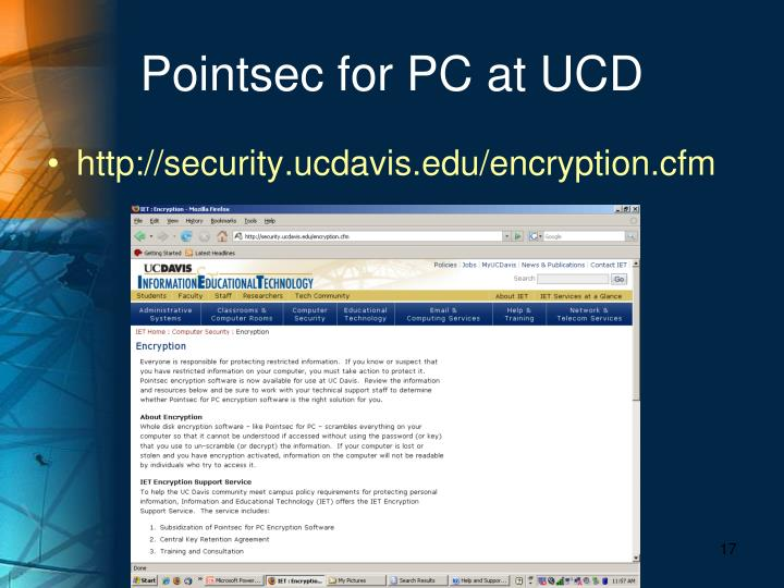 Pointsec for PC at UCD