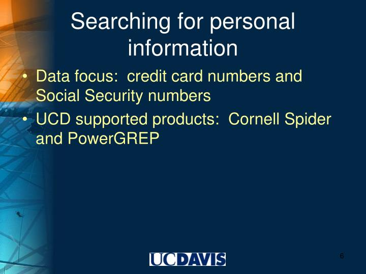 Searching for personal information