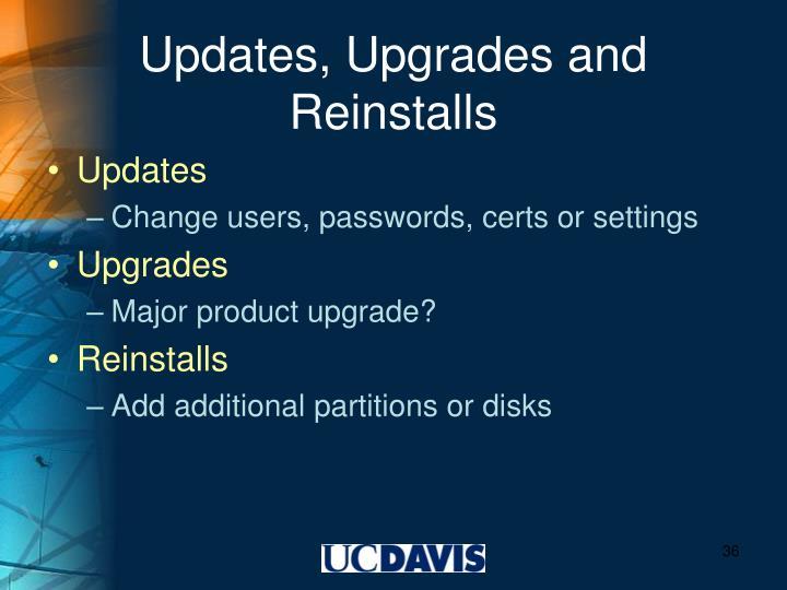 Updates, Upgrades and Reinstalls