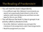 the reading of frankenstein