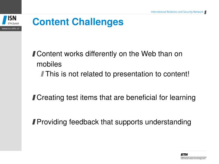 Content Challenges