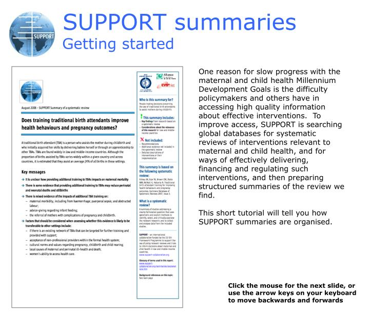 SUPPORT summaries